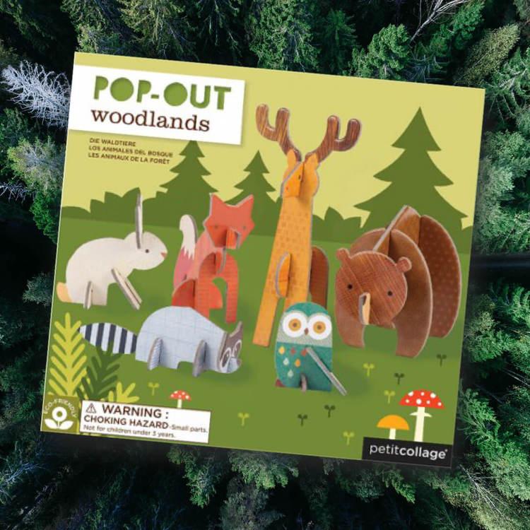 Petit Collage Pop-out Djuren i skogen