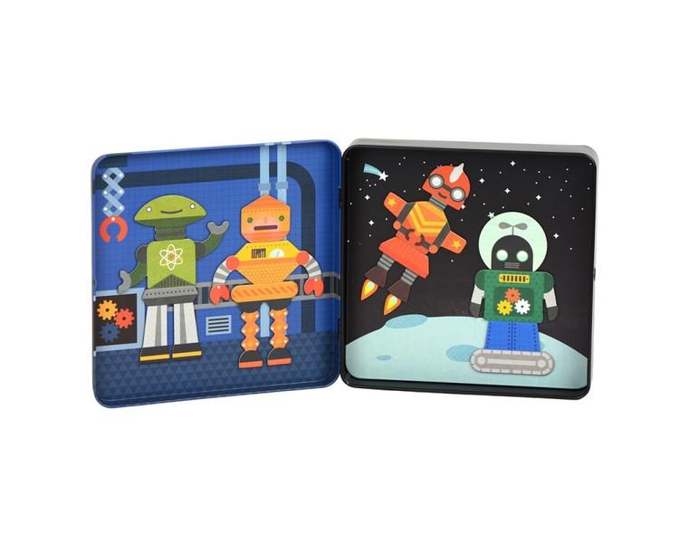 Robotarna - Magnetiskt lek i fin låda från Petit Collage