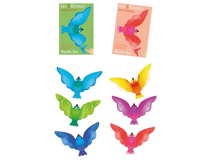 Balansfågel - Välj mellan 3 blå/gröna eller 3 gul/lila/röd