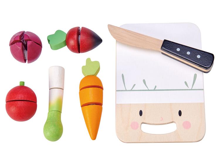 Lek kök med Skärbräda med grönsaker från Tender Leaf Toys