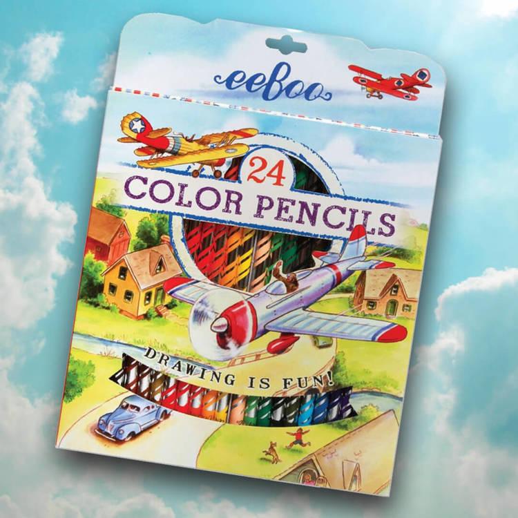 Vackra pennor, 24 stycken (flygplan) från eeBoo