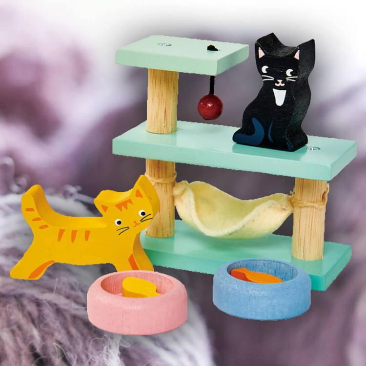 Klätterställning med katter dockhusdjur från Tender Leaf Toys