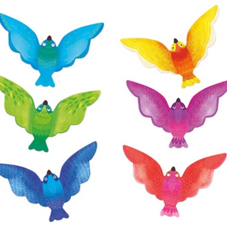 Balansfågel från Moulin Roty- Välj mellan 3 blå/gröna eller 3 gul/lila/röd
