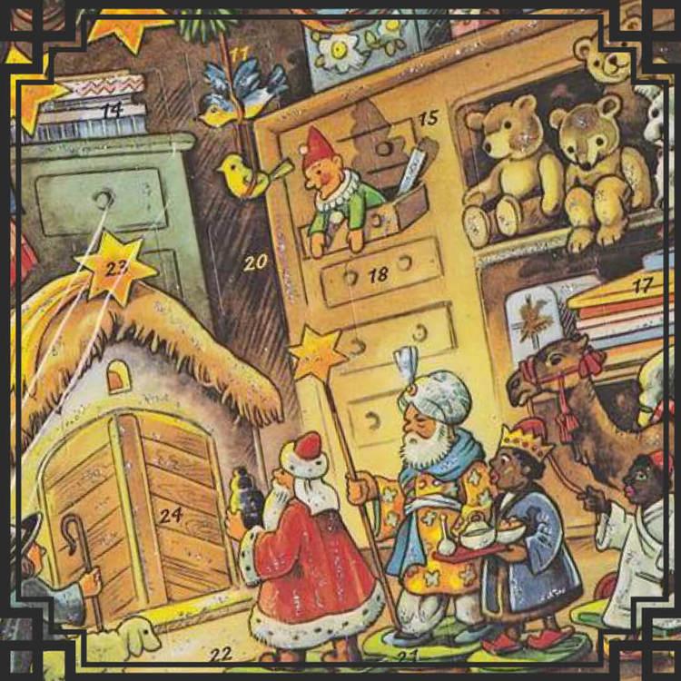 Gammeldags adventskalendrar och julkalendrar med glitter