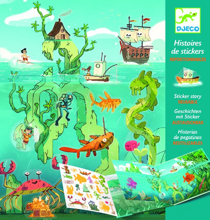 Återanvändbara klistermärken tema havet från Djeco