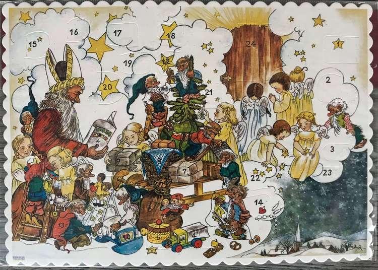Små Adventskalendrar Julkortstorlek - Äldre motiv med glitter