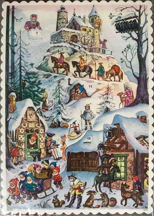 Små Adventskalendrar - Äldre motiv med glitter - Många olika att välja bland