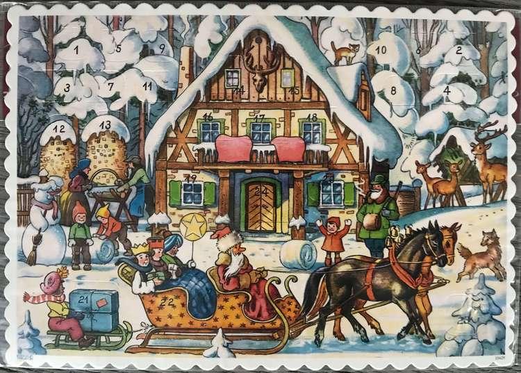 Små Adventskalendrar Julkortstorlek - Äldre motiv med glitter (Fraktfritt)