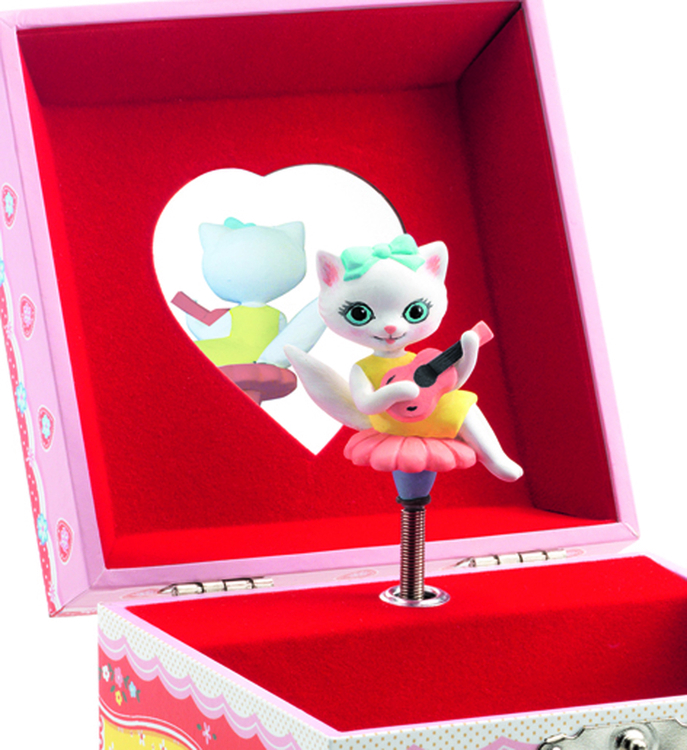 Speldosa & smyckeskrin med en musicerande katt, från Djeco