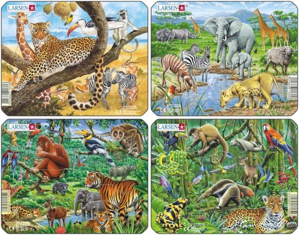 Fina pussel med olika vilda djur (11 bitar)