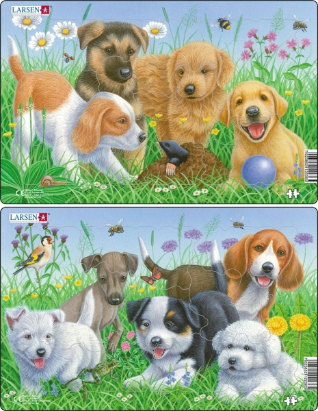 Härliga pussel med hundar (8 bitar)