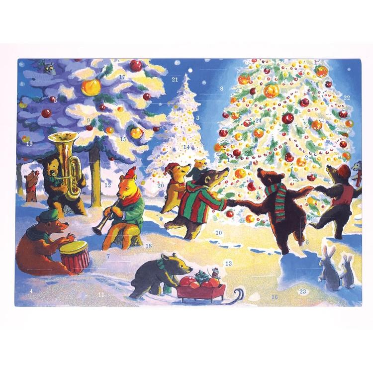Underbar adventskalender med djuren som dansar kring granen