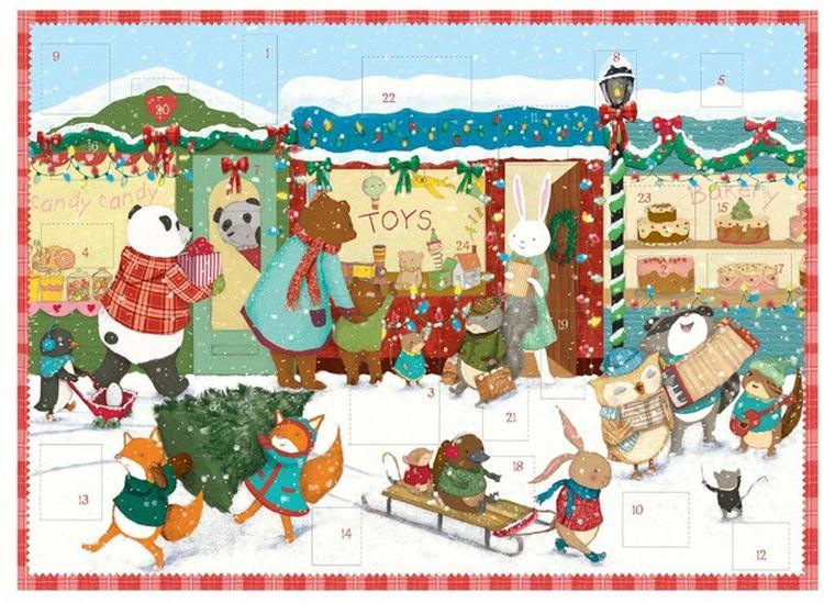 Julkalender och adventskalender med djur som handlar julklappar