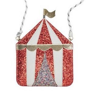 Underbart glittrig väska med cirkusmotiv