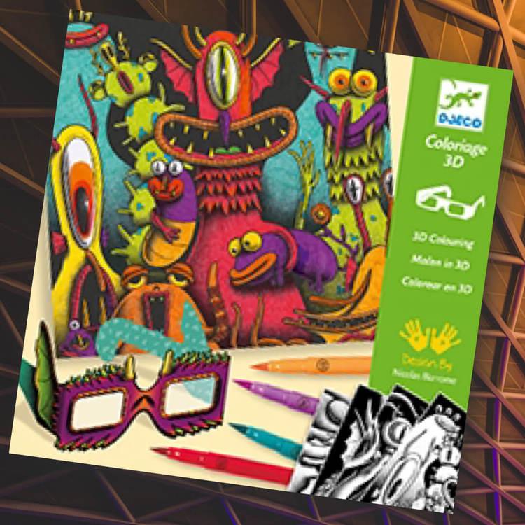 Färglägg och se bilden i 3D från Djeco