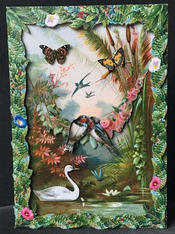 Vackert kort med kuvert - Svalorna