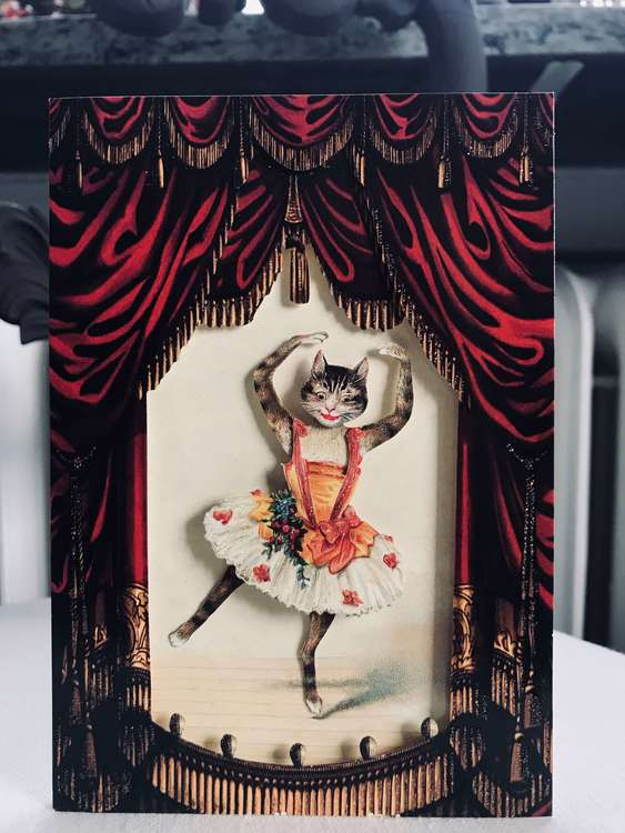 Vackert kort med 3D-effekt, Dansande balett katt