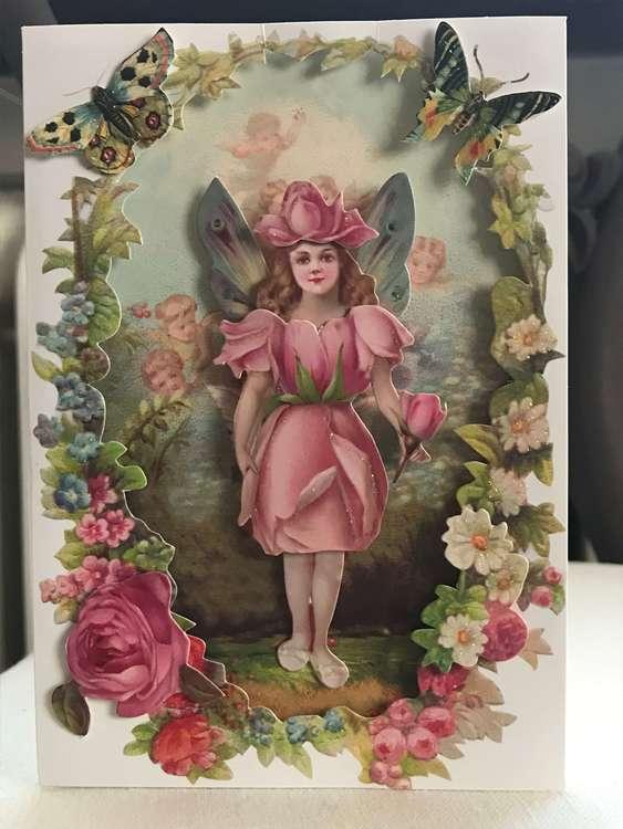 Vackert kort med kuvert - Blomsterflickan