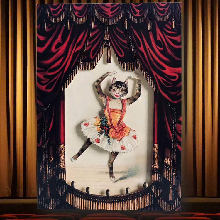 Vackert kort med kuvert - Ballerinan Katt (Fraktfritt)