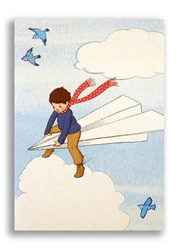 Enkla kort - Pojken på pappersplanet (Fjäderlätt=Fraktfritt)