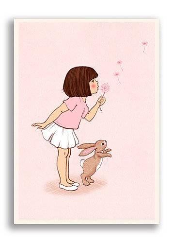 Enkelt kort - Belle blåser på en maskros (Fjäderlätt=Fraktfritt)