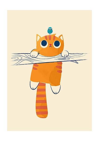 Kort med kuvert, katt med fågel på huvudet, humoristiskt gratulationskort