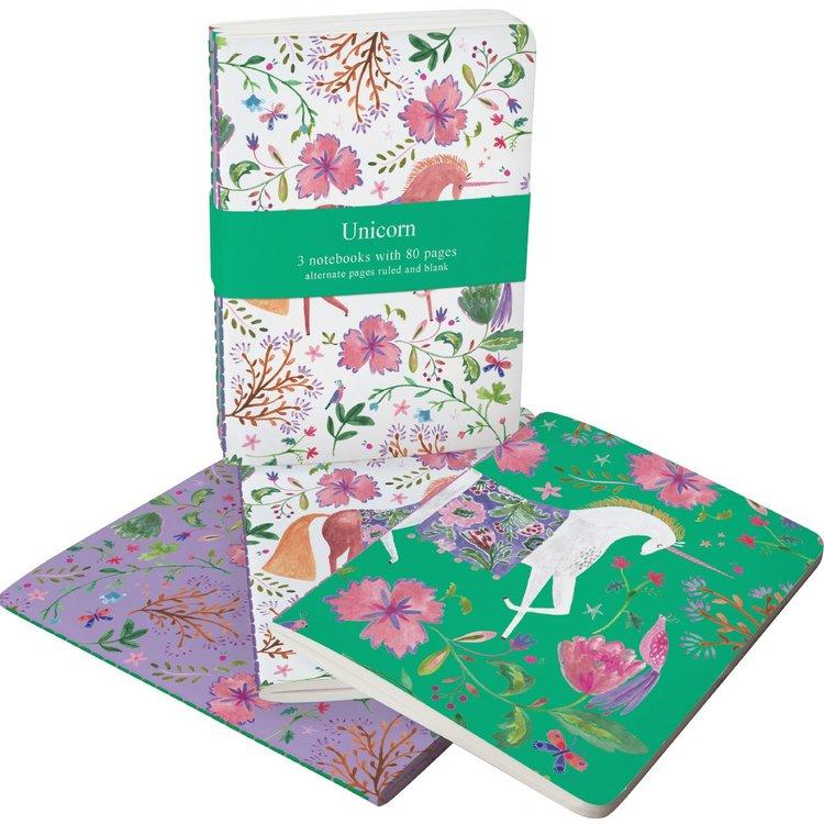 Anteckningsböcker (3 st olika) med enhörningar - Over the Rainbow