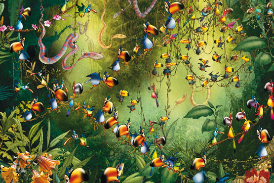 Pussel - Roligt i djungeln (1000 bitar)