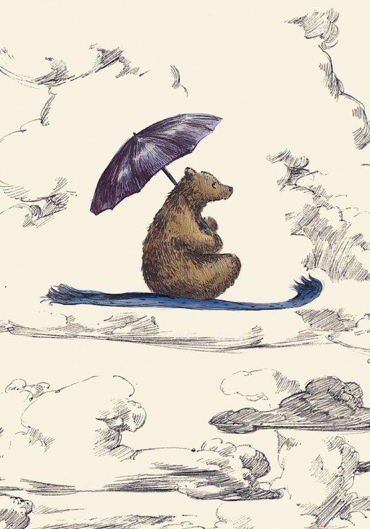 Gratulationskort - Björnen på den flygande mattan