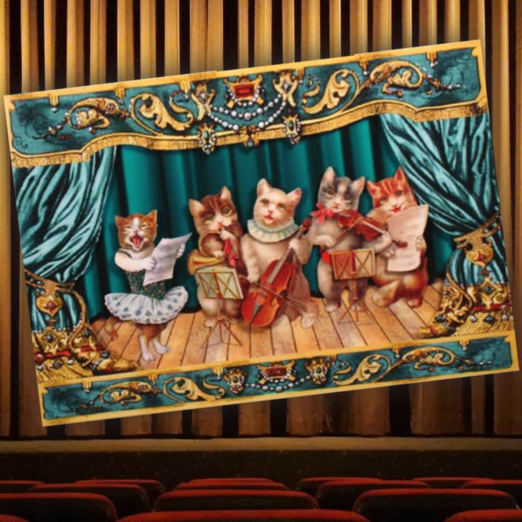 Vackert kort med kuvert - Kattorkestern (Fjäderlätt - Fraktfritt)