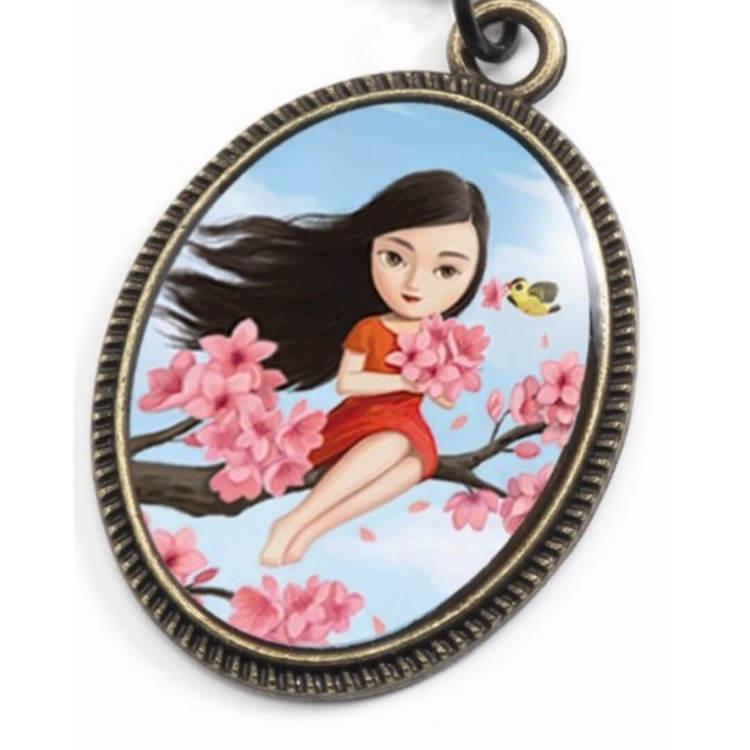 Vackert litet halsband - Flicka i körsbärsträdet (Fraktfritt)
