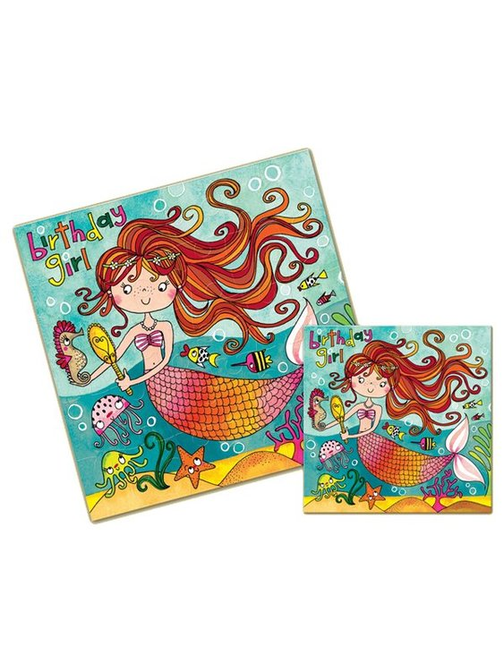 Pusselkort (30 bitar) & Gratulationskort - Sjöjungfru