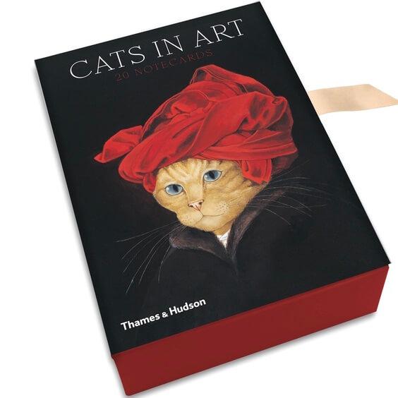 En box med kort och kuvert - Katter i konsten