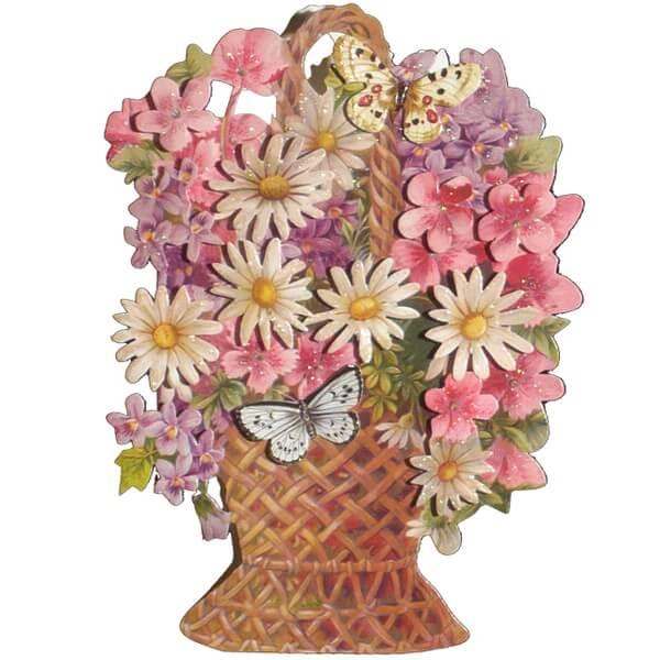 Vackert kort med kuvert - Blomsterkorg (Fraktfritt)