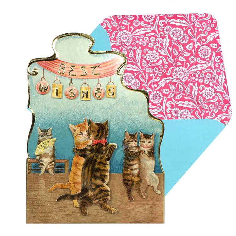 Vackert kort med kuvert - Katter på dans (Fraktfritt)