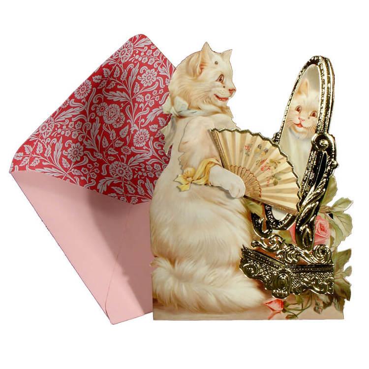 Vackert kort med kuvert - Katt framför spegeln (Fraktfritt)