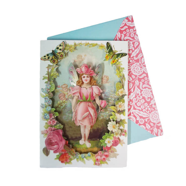 Vackert kort med kuvert - Blomsterflickan (Fraktfritt)