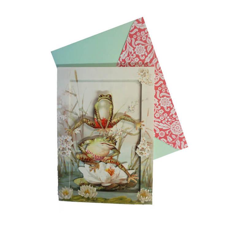 Vackert kort med kuvert - Grodhopp med dopp (Fraktfritt)