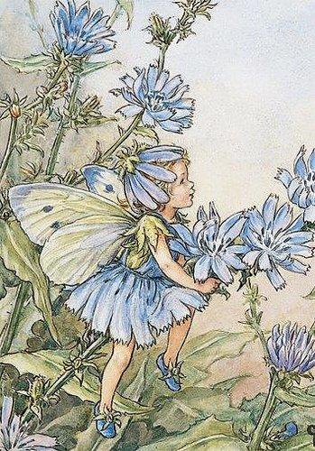 Litet kort med kuvert - Älva bland blå blomster (Fraktfritt)