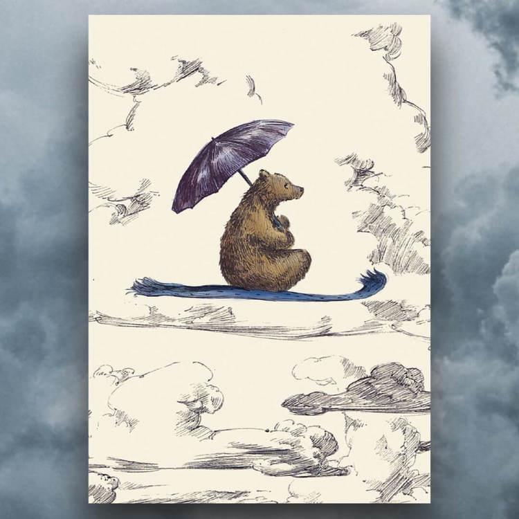 Kort med kuvert  - Björnen på den flygande mattan (Fraktfritt)