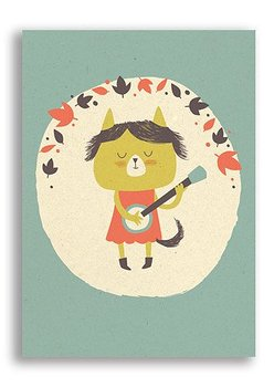 Enkelt kort - Katt med banjo (Fraktfritt)