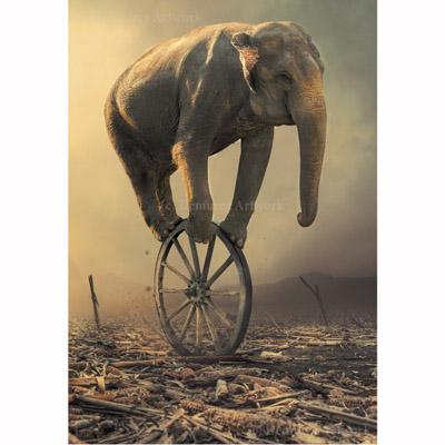 Kort med kuvert - Elefant på hjul