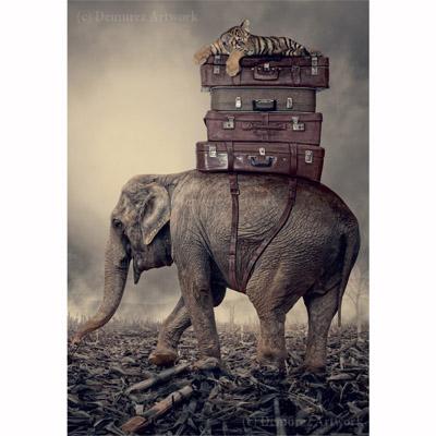 Kort med kuvert - Elefant på resa