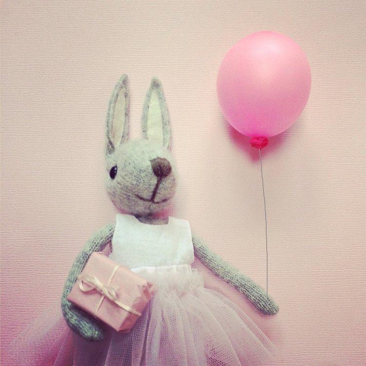 Kort med kuvert - Kanin med ballong (Fraktfritt)