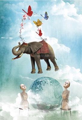 Kort med kuvert - Svävande elefant (Fraktfritt)