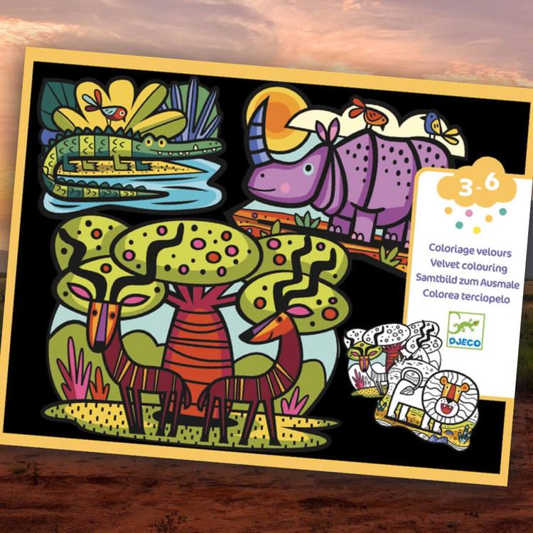 Färglägg utan att måla utanför kanterna från Djeco (Savannen)
