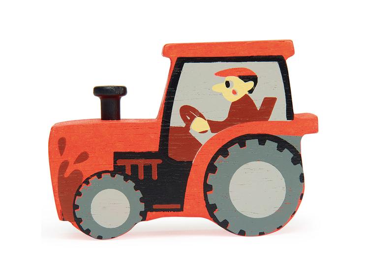 Bondgårdens vackra djur i trä från Tender Leaf Toys - Traktor