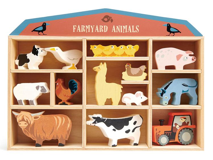 Bondgårdens vackra djur i trä från Tender Leaf Toys