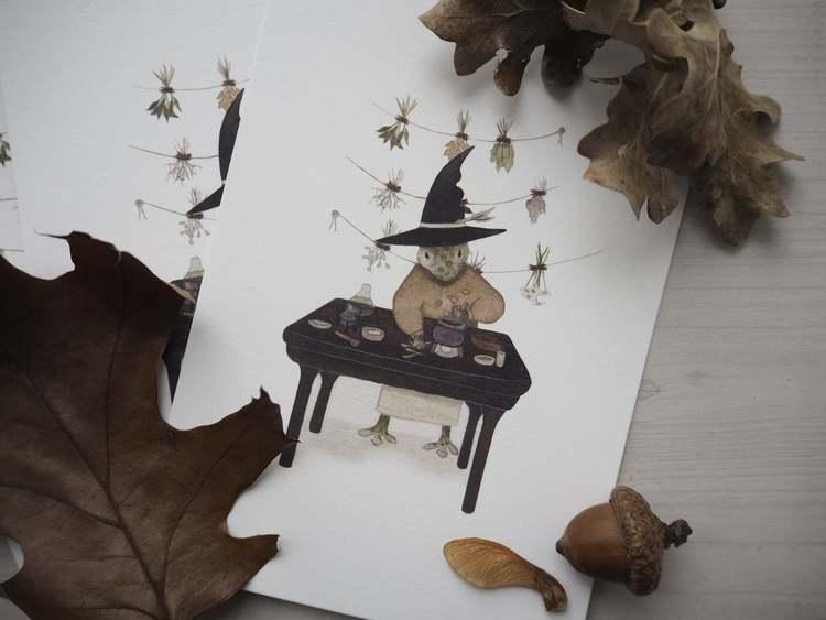 Enkelt konstkort - Den lille apotekaren (Fraktfritt)