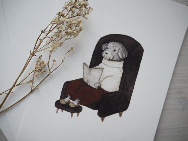 Enkelt kort - Morfar hund (Fraktfritt)
